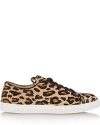 Charlotte Olympia Purrrfect Leopard Print Calf Hair Sneakers Leopard Print