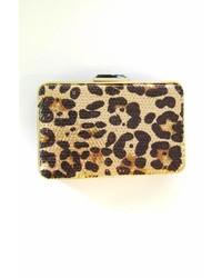Sondra Roberts Leopard Box Clutch
