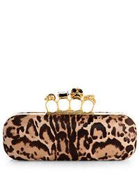 Alexander McQueen Leopard Print Calf Hair Knuckle Box Clutch