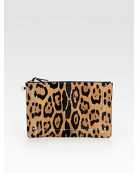 Jerome Dreyfuss Popoche Large Leopard Print Calf Hair Clutch