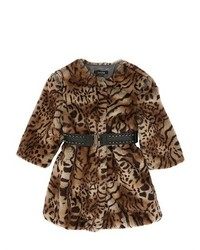 Leopard Printed Faux Fur Coat