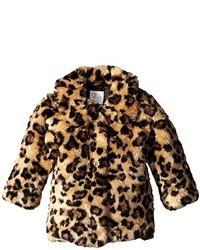 The Childrens Place Little Girls Leopard Print Faux Fur Coat