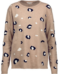 Leopard intarsia knit merino wool and cashmere blend sweater medium 3649219