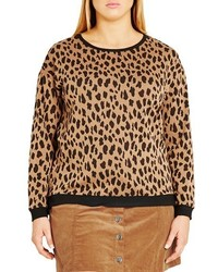 City Chic Plus Size Leopard Lover Pullover