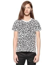 Saint Laurent Leopard Printed Cotton Jersey T Shirt