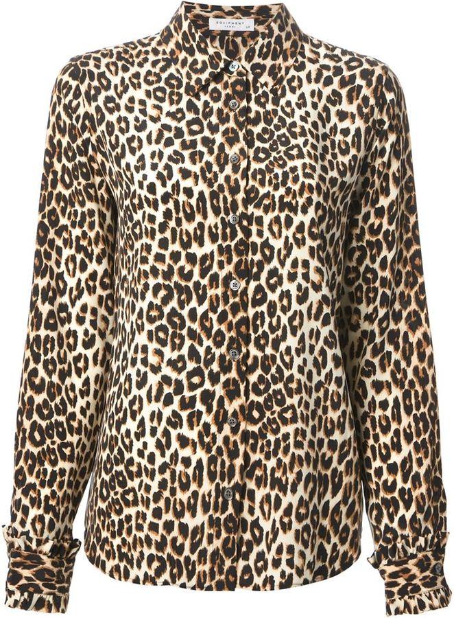 af8f1a9a43 ... Tan Leopard Dress Shirts Equipment Leopard Print Classic Shirt