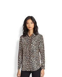 Equipment signature silk leopard print shirt natural medium 791165
