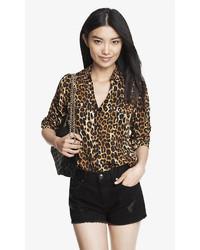 Original fit leopard print portofino shirt medium 420688