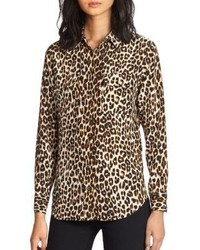 Slim signature silk leopard print shirt medium 420690