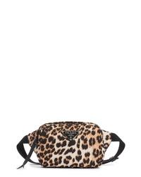Prada Leopard Print Nylon Belt Bag