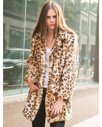 Choies Leopard Quality Lapel Long Line Faux Fur Warm Coat