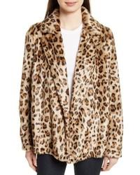 Clairene leopard print faux fur coat medium 5169710