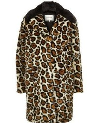 River Island Cream Leopard Print Faux Fur Coat