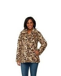 Dennis basso animal printed textured faux fur coat medium 381770