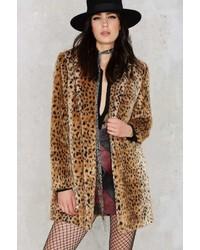 Factory Spot Off Guard Faux Fur Leopard Coat