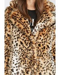 d70611d59474 Forever 21 Leopard Faux Fur Coat, $85 | Forever 21 | Lookastic.com