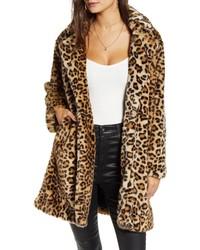 BLANKNYC Leopard Faux Fur Coat