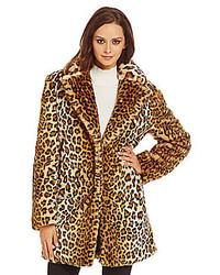 Calvin Klein Leopard Faux Fur Coat