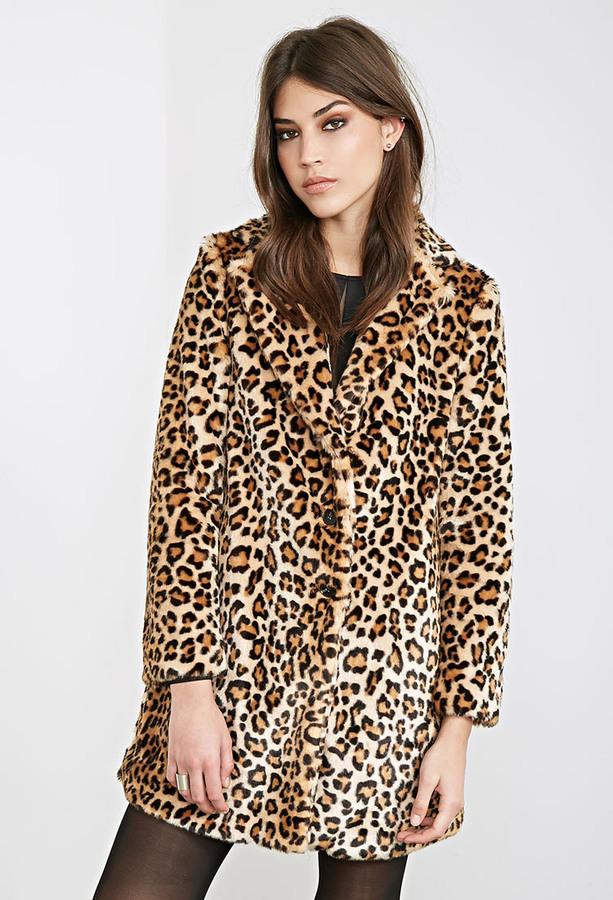 d2fbaa6e902c Forever 21 Leopard Print Faux Fur Coat, $64 | Forever 21 | Lookastic.com