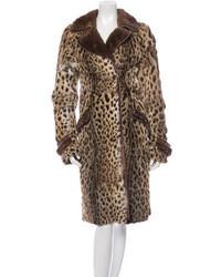 Roberto Cavalli Leopard Print Fur Coat