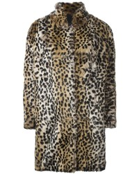 Meteo by yves salomon leopard pattern coat medium 814455