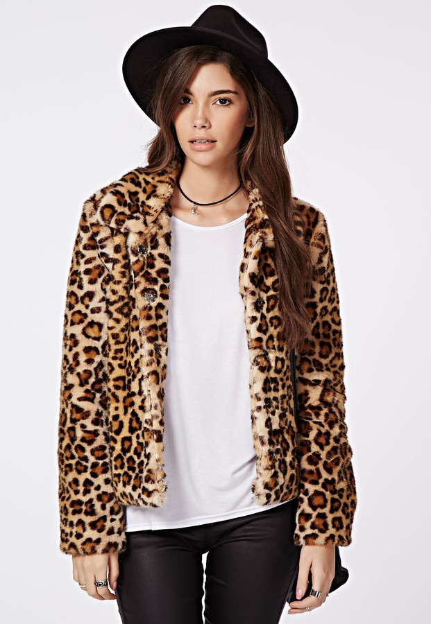 Missguided Serena Cropped Faux Fur Coat Leopard | Where to buy ...