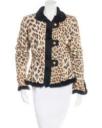 Roberto Cavalli Fur Trimmed Printed Jacket