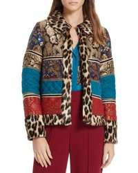 Alice + Olivia Glennie Patchwork Mixed Media Faux Fur Jacket
