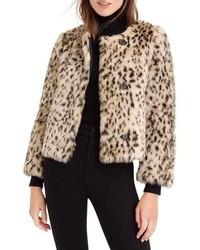 J.Crew J Crew Crop Faux Snow Leopard Fur Coat