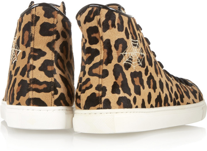 7db709546fc8 ... Charlotte Olympia Purrrfect Leopard Print Calf Hair High Top Sneakers