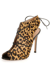 Open toe calf hair bootie leopard medium 649205