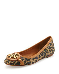 Tan Leopard Leather Ballerina Shoes