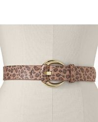 Leopard covered buckle belt extended size medium 28676