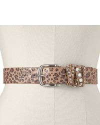 Leopard rhinestone crisscross wrapped belt extended size medium 28677