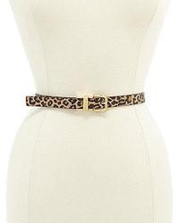 Michael Kors Michl Kors Skinny Leopard Print Reversible Belt