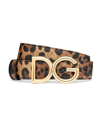 Dolce & Gabbana Reversible Leopard Print Textured Leather Belt