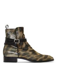 Christian Louboutin Tan Kicko Flat Pony Metal Chelsea Boots