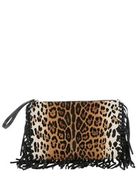 Valentino Brown Leopard Print Leather Large Wristlet Clutch