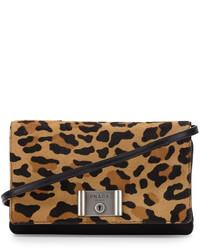 Prada Calf Hair Flap Clutch Bag Leopard