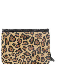 Celia large leopard print calf hair clutch medium 18088