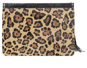 290ac0de1c66 Rafe Celia Large Leopard Print Calf Hair Clutch, $225 | Neiman ...