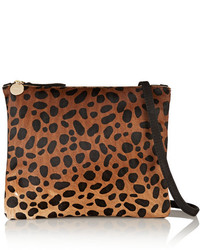 Clare Vivier Clare V Leopard Print Calf Hair And Brushed Leather Shoulder Bag