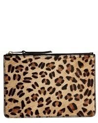 French Connection Par Leopard Print Leather Zip Top Pouch Leopardblk