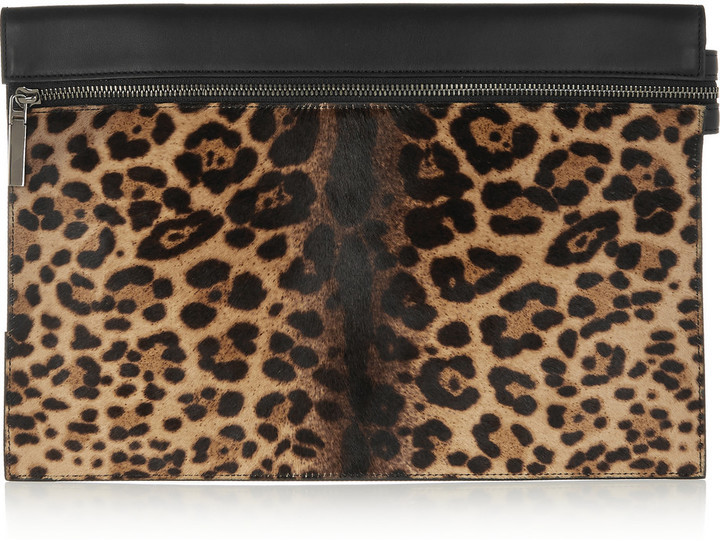 4a82834f305b ... Victoria Beckham Large Leopard Print Calf Hair And Leather Clutch