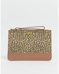 Maison Scotch Leopard Print Leather Clutch