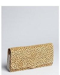 Rebecca Minkoff Tan Leopard Print Brushed Leather Honey Clutch
