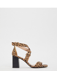 New Look Wide Fit Multi Heeled Sandal In Animal Print