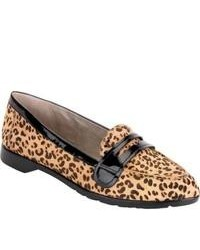 Tan Leopard Leather Loafers