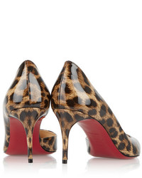 san francisco 3e848 59049 Christian Louboutin Iriza 70 Leopard Print Patent Leather ...