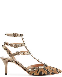 8b4962f123a ... Valentino Rockstud Leather And Pony Hair Kitten Heel Pumps ...